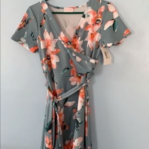 Pink Lily Boutique Floral Wrap Dress Size L